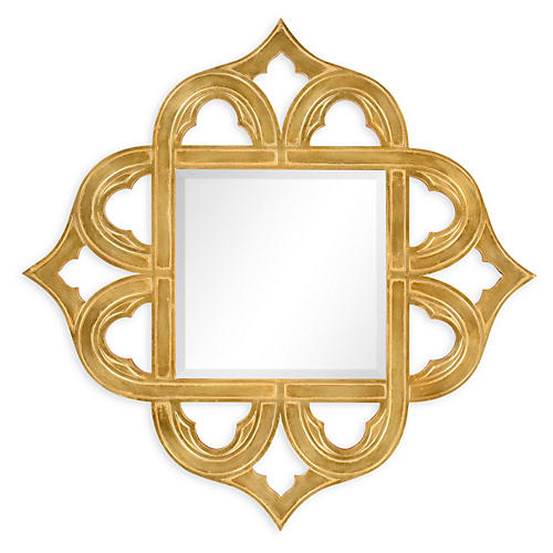 Rhonda Wall Mirror, Antiqued Gold-leaf