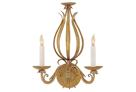 Gold and Scrolls Sconce, Florentine Iron