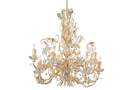 Crystal Flowers Chandelier, Gold