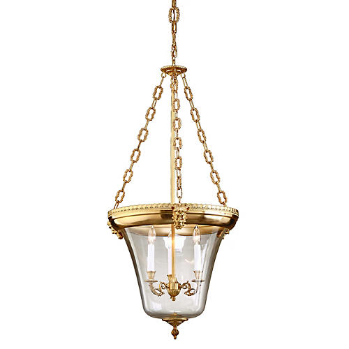 Inverted Lantern, Antiqued Brass