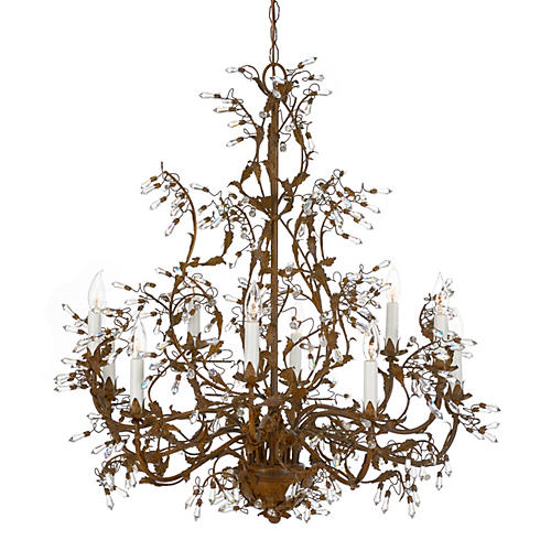 Crystal Buds Chandelier, Rust Patina
