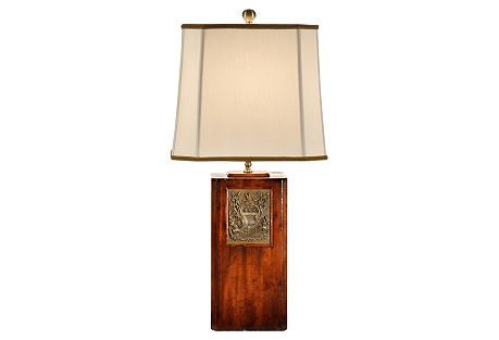 Bookplate Table Lamp, Walnut