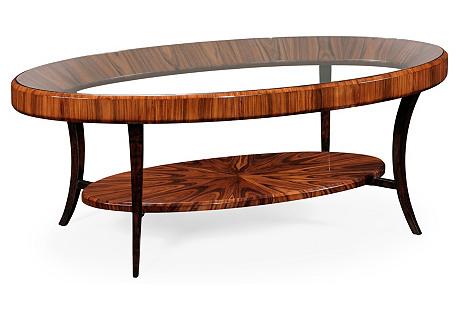 Thea Oval Coffee Table, Auburn/Ebony