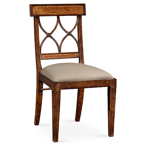 Regency Curved Back Side Chair, Walnut