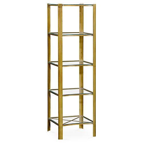 """Modernist 62"""" 5-Tier Étagère, Gold"""