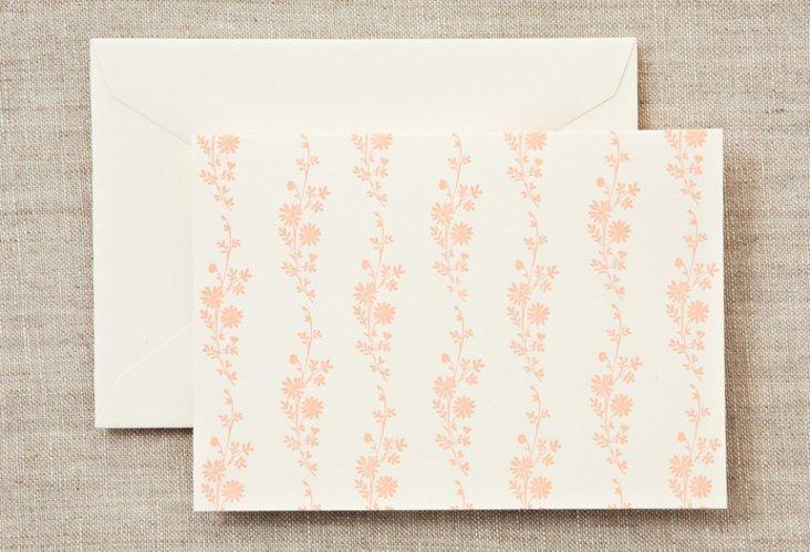 S/16 Daisy Folded Notes, Peach