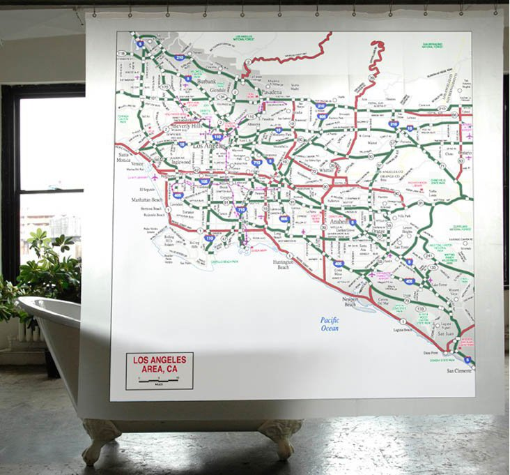 Los Angeles Map Shower Curtain