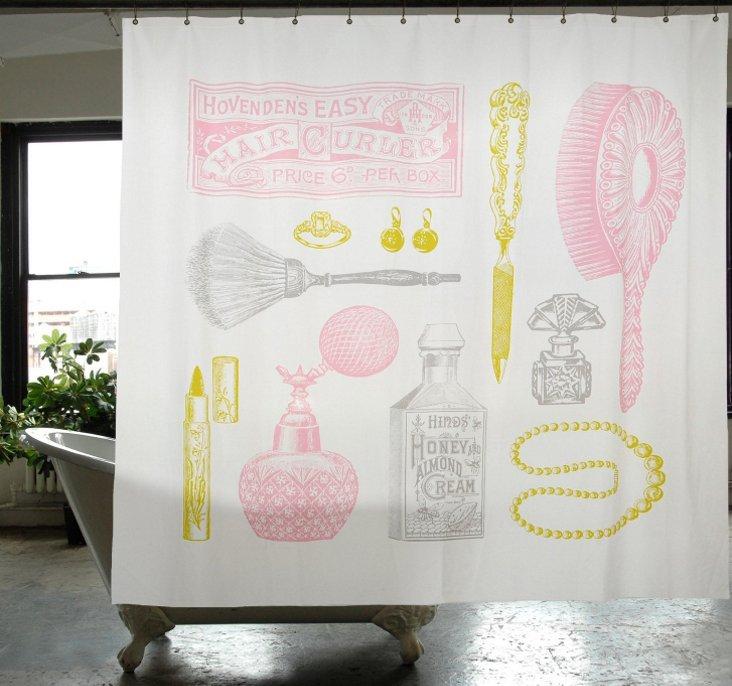 Powder Room Canvas Shower Curtain