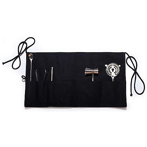 Asst. of 6 Canvas Bar Apron & Tool Set, Black