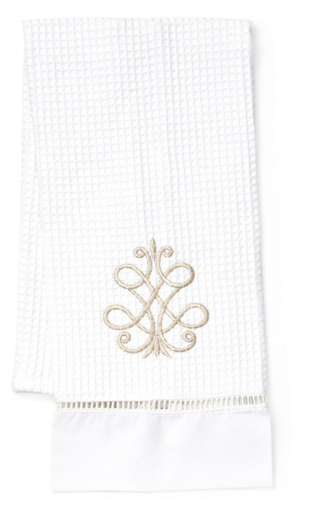 French Scroll Waffle Guest Towel, Beige