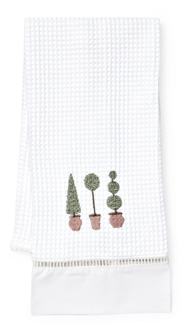 Three Topiary Trees Guest Towel, Olive