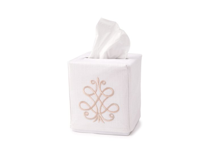 French Scroll Tissue Box Cover, Beige