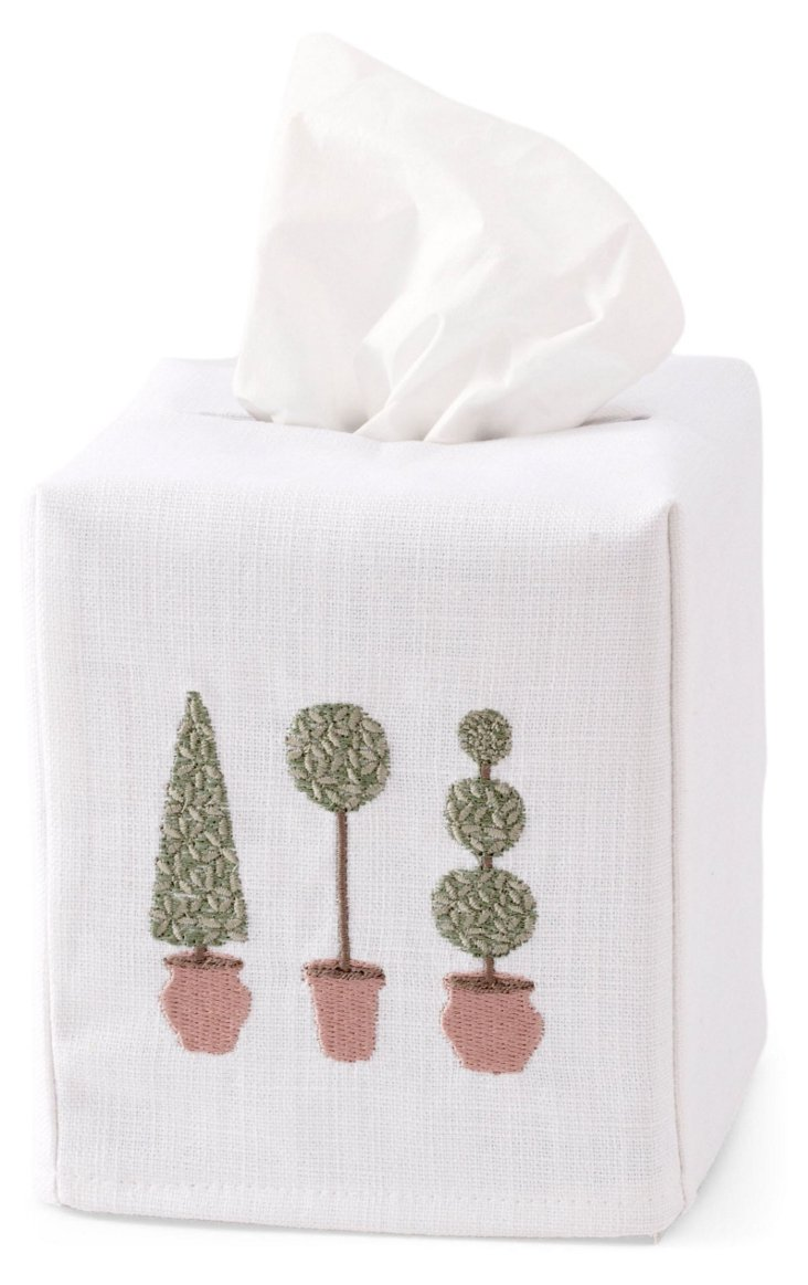 Topiaries Tissue Box Cover, Olive