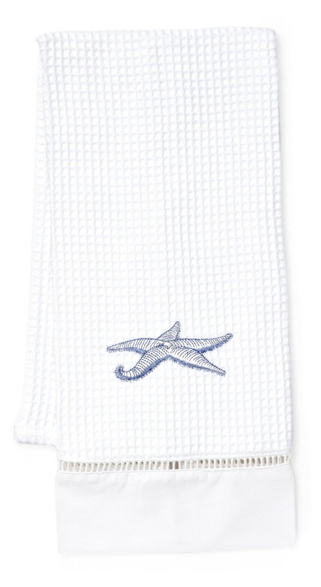 Starfish Waffle Weave Guest Towel, Blue