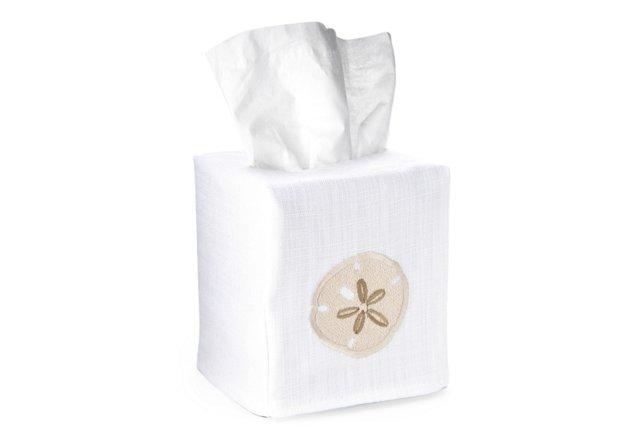 Sand Dollar Tissue Box Cover, Beige