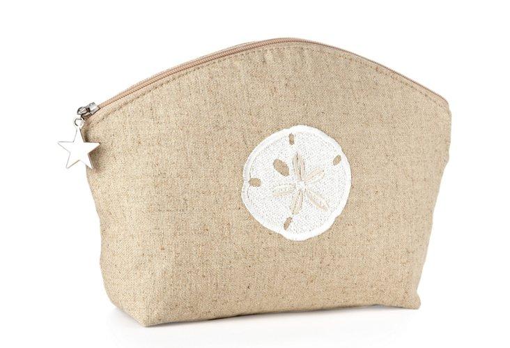 Sand Dollar Linen Cosmetic Bag, Natural