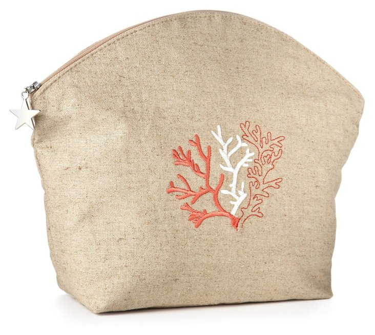 Coral Linen Cosmetic Bag, Red/Natural