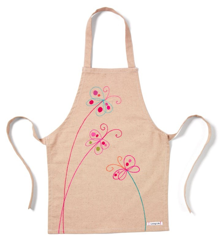 Kid's Butterfly Apron, Natural/Multi