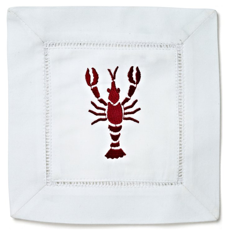 S/4 Lobster Cocktail Napkins, Red