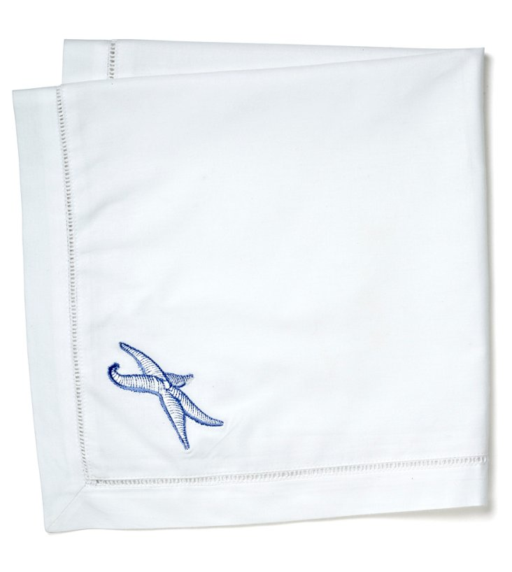 S/2 Starfish Dinner Napkins, Blue