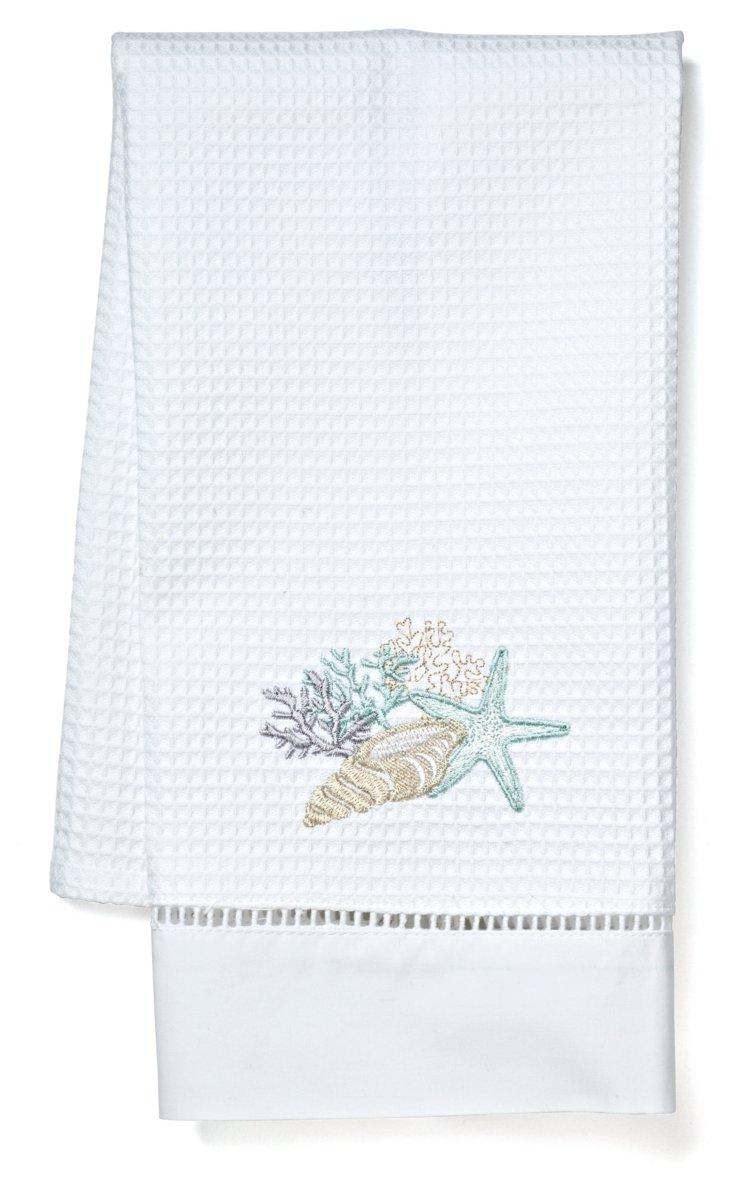 Shell Collection Guest Towel, Aqua