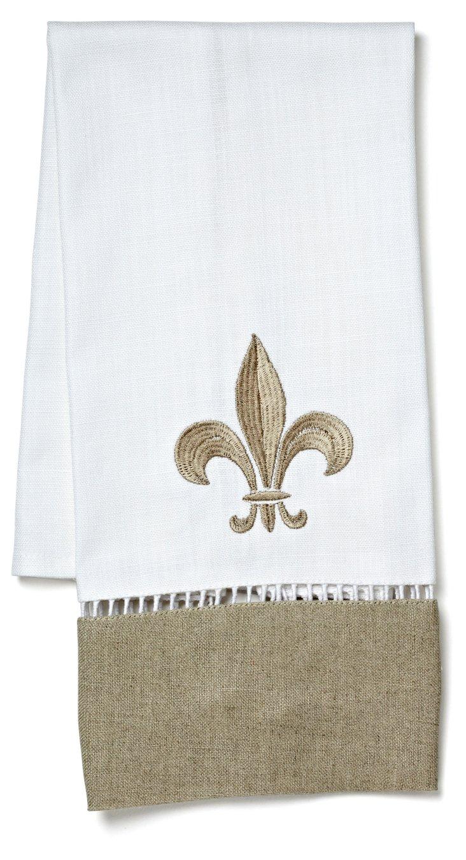 Fleur-de-Lis Linen Guest Towel, Beige