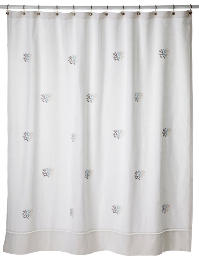 Coral Percale Shower Curtain, Blue/White