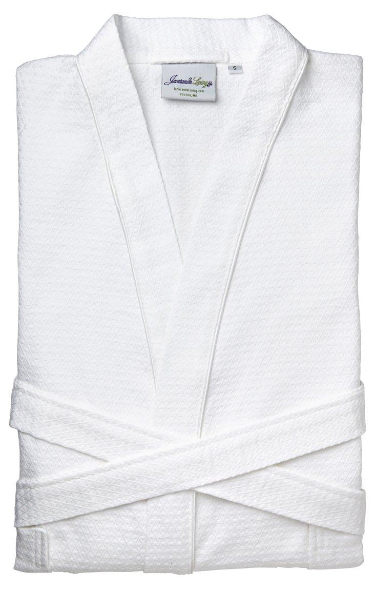 Willow Weave Bathrobe, White
