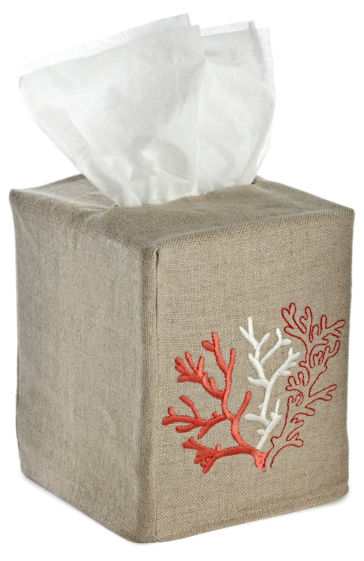 Coral Tissue Box Cover, Red