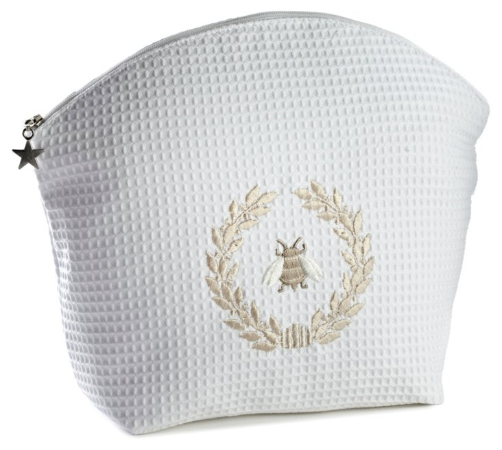 French Bee Waffle Cosmetic Bag, White