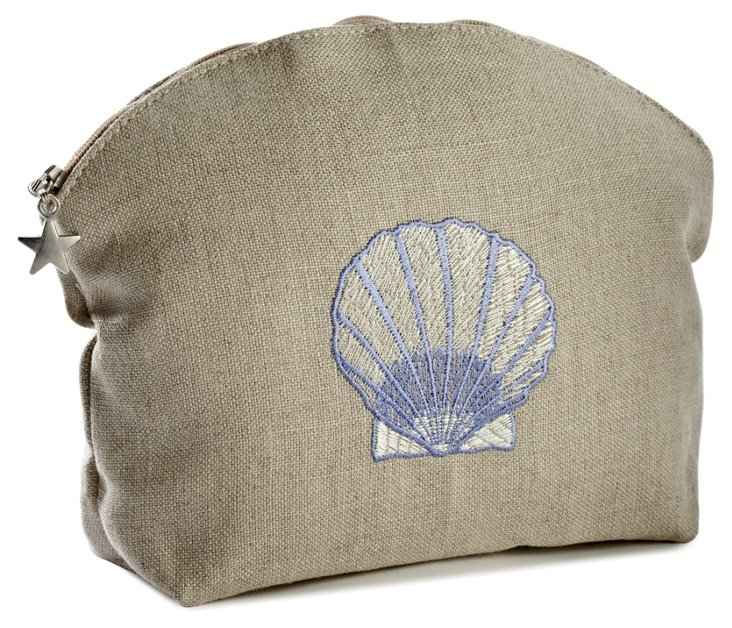 Small Scallop Linen Cosmetic Bag, Blue