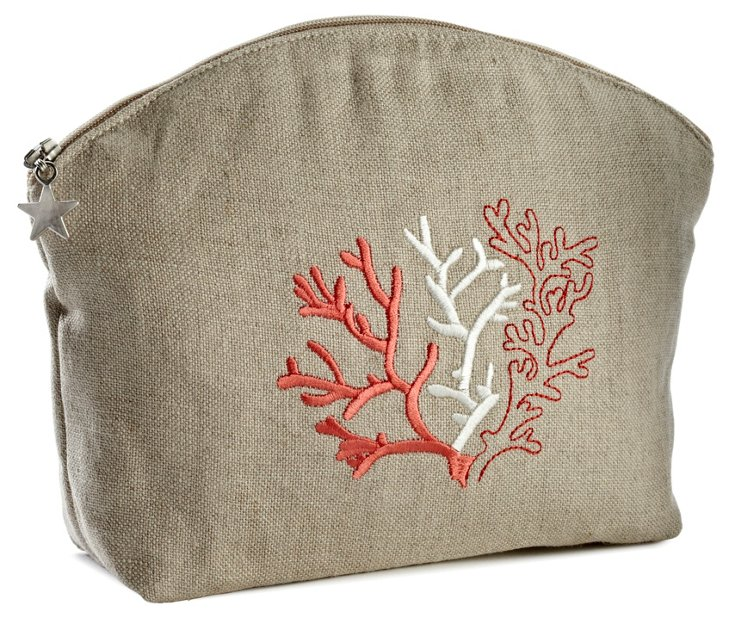 Small Coral Linen Cosmetic Bag, Red