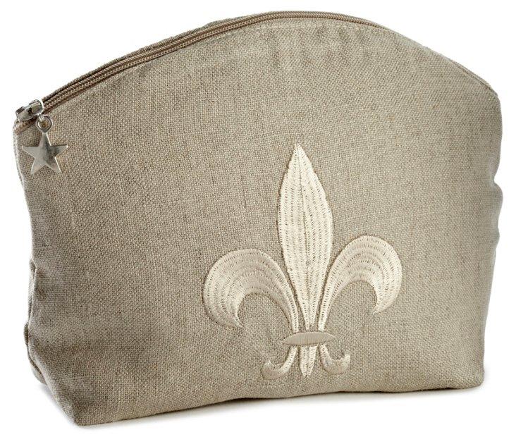 Sm Fleur-de-Lis Linen Cosmetics Bag