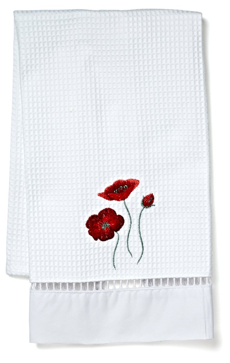Poppies Waffle Weave Guest Towel, Red