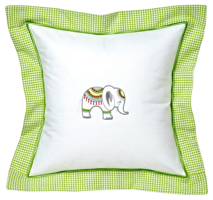 Lucky Elephant Baby Pillow Cover, Green