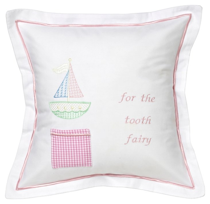 Sailboat Tooth Fairy Pillow Cover, Pink