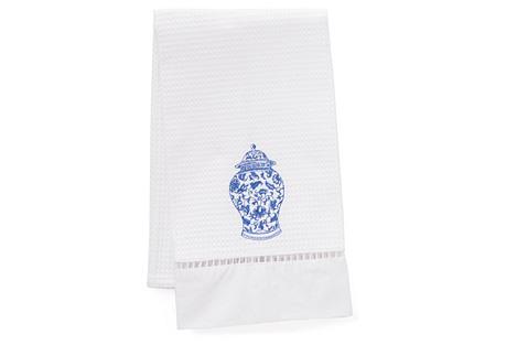 Ginger Jar Linen Guest Towel, Periwinkle