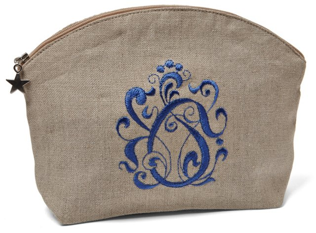 English Scroll Cosmetic Bag, Periwinkle