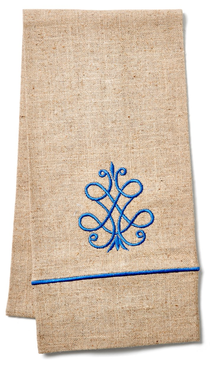 French Scroll Guest Towel, Periwinkle