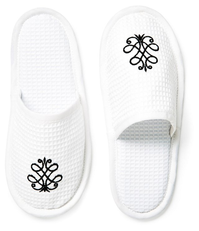 French Scroll Weave Slippers, Black