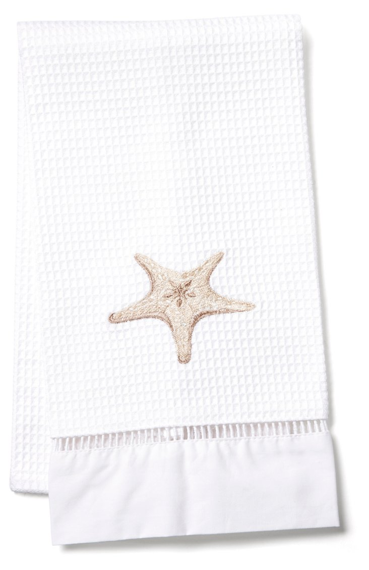 Starfish Waffle Weave Guest Towel, Beige