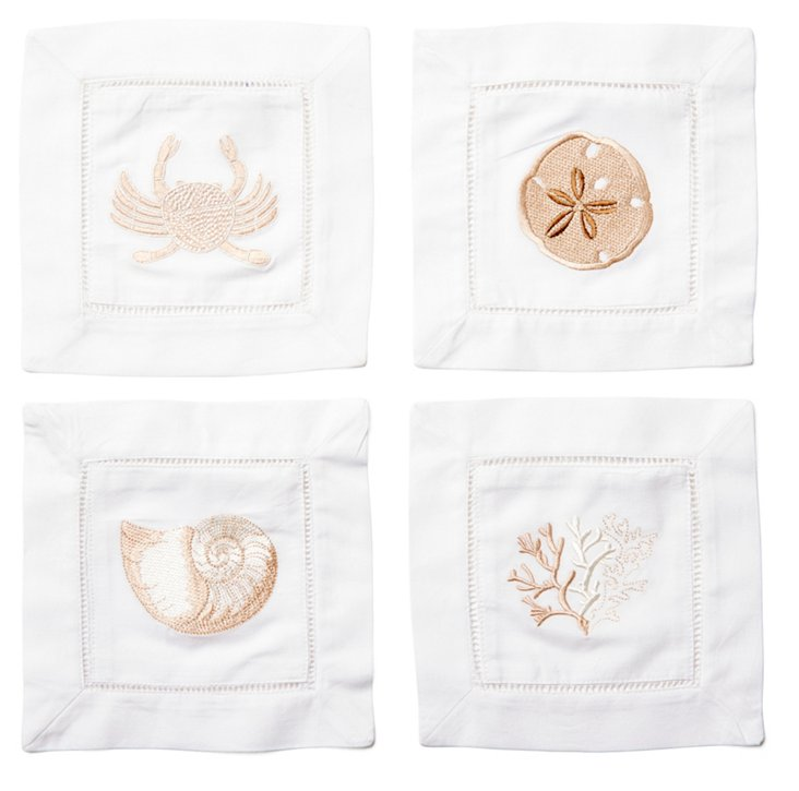 S/4 Asst Sea Life Cocktail Napkins, Sand