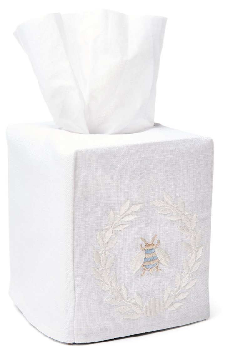 Napoleon Bee Wreath Tissue Box, Cream