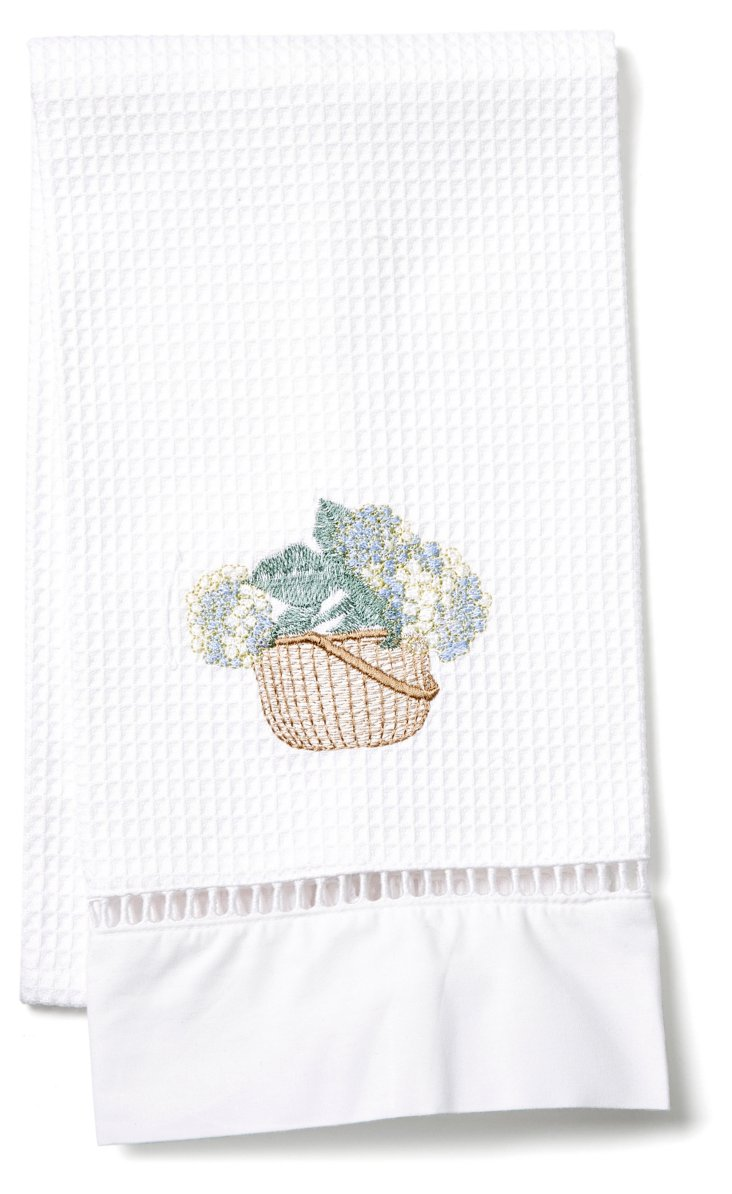 Hydrangea Basket Guest Towel, Cream/Blue