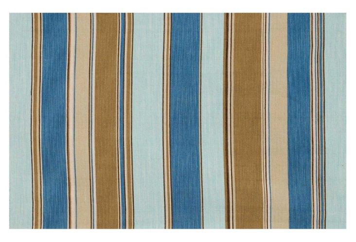 9'x12' Avery Flat-Weave Rug, Aqua/Mocha