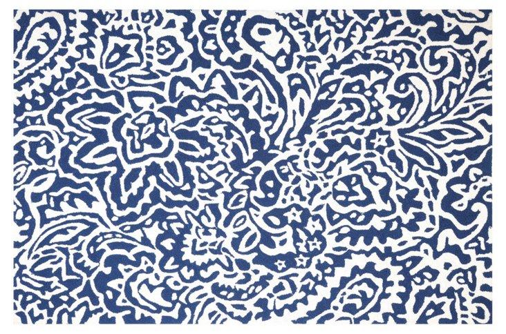 Sindri Outdoor Rug, Blue/White