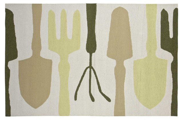 Piet Outdoor Rug, Ivory/Multi