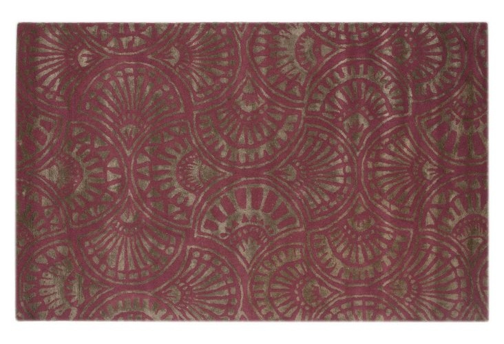 5'x8' Deane Rug, Crushed Berry