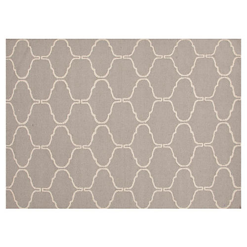 Serra Flat-Weave Rug, Warm Gray/Ivory