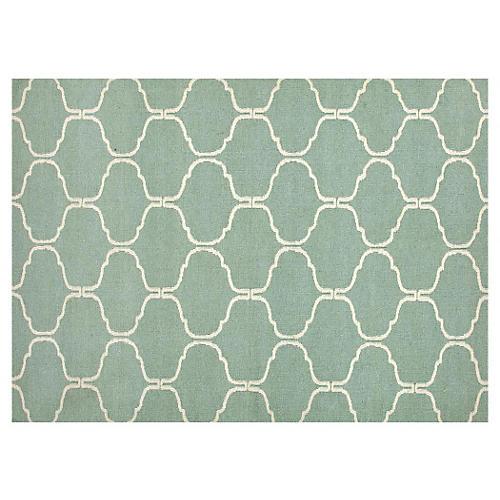 Serra Flat-Weave Rug, Seafoam/Ivory